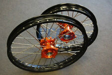 KTM SX 85 KTM85 Black Rim CNC Hub 19/16 WHEELS SET ORANGE 2003-2015 I RMT04