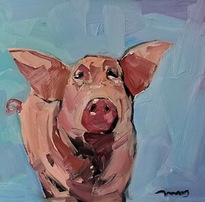 JOSE TRUJILLO Oil Painting IMPRESSIONISM Contemporary PIG ANIMAL COLLECTIBLE ART