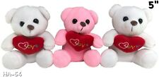 """Valentine's Day Teddy Bear 5"""" Tall 2 Withe And 1 Pink New Lot of 3"""