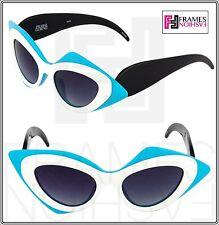 LINDA FARROW Prabal Gurung Cat Eye Mask Black White Blue PG17 Sunglasses