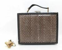 ASPINAL OF LONDON Brown Speckled Leather Bound Mini Trunk Box Clutch Bag
