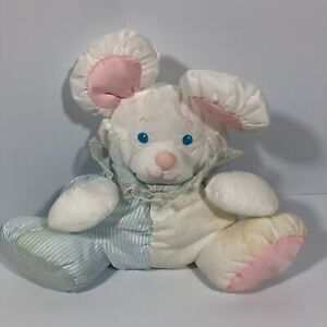 """VIntage Fisher Price Puffalump Mouse w/Rattle White Blue And Pink 10"""" 1988"""