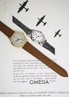 OMEGA 30T2 PILOTS WRISTWATCH SERVICED EXCELLENT DENNISON 9CT GOLD CASE