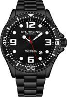Stuhrling Men's Quartz Diver Silver Case Black Bezel Black Dial Blue Accents