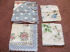 Collectible Ladies Handkerchief Set 4 Floral Polka Dot Prints Blues Pinks Greens