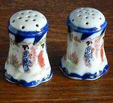 A pair of Antique Japanese cruets hand painted  Geisha / Garden gilt / flow blue