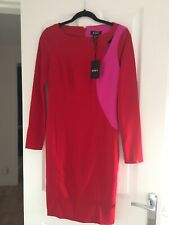 DKNY Red Long Sleeved Dress Pink Stripe Cut Out Detail Bnwt Size 8
