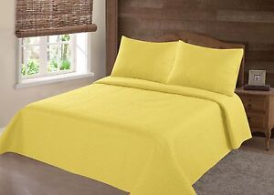 REVERSIBLE SOLID QUILT BEDDING BEDSPREAD COVERLET PILLOW CASES SET 2/3PC