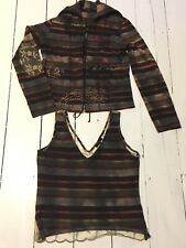 Mariella Rosati Stripped 2 Piece Vest & Zip Up Cardigan Size UK14 & UK10