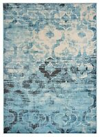 Moroccan Distressed Trellis Aqua Blue Area Rug 2'x3, 3'x5', 5'x7', 8'x10', Round