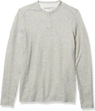 John Varvatos Star USA Men's Wilmington Knit Seam Henley Shirt Reflection Grey M