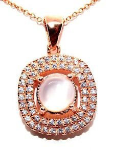 Sterling Silver Rose Gold Plated Natural Moonstone 3.55ct Pendent (925)