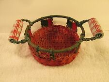 Small Holiday wicker Basket ceramic handle covers Red poinsettia ornaments Craft