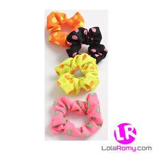 Girls Neon Polka Dot Hair Scrunchies Pink Yellow Orange And Black *NEW*