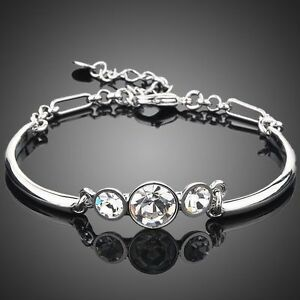 Platinum Plated Clear Crystal Bracelet Mother Gift Made with SWAROVSKI ELEMENTS