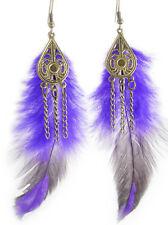 F1362 light cute purple chain feather earrings fashion jewelry