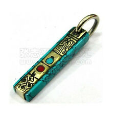 Tibetan Red Coral Turquoise Inlay Carved Brass 8 Auspicious Symbol Pendant