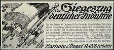 Siegeszug deut.Industrie,Schokolade,Hartwig & Vogel AG Dresden,orig.Anzeige 1917