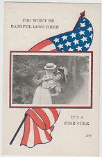Patriotic Romance You Won't Be Bashful Long Postcard