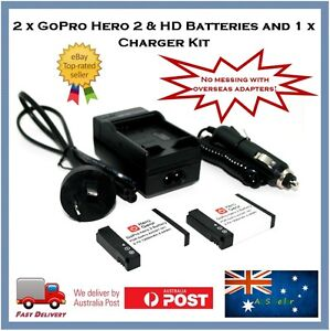 2 x Hero Gear GoPro HD, Hero2 Batteries + Wall/Car Charger Bundle AHDBT-001 002