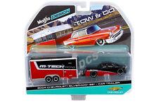 MAISTO  TOW & GO 2004 CHEVROLET SILVERADO SS w CAR TRAILER 1/64 BLACK RED 15368C
