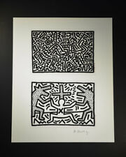 """Keith Haring, """"Untitled"""" (two black and white images, dogs, people). Hand Signed"""