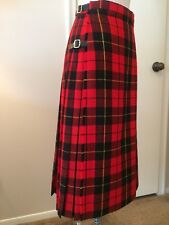 Vintage The Scotch House London Womens Kilt Skirt side Fringe-Buckles GB 12=US 8