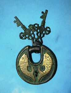 Fish Design Antique Padlock Solid Brass Round Lock Heavy Safety Door Lock RO84