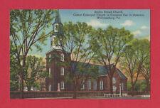 WILLIAMSBURG VIRGINIA VA BRUTON PARISH CHURCH Linen Vintage Postcard 1940