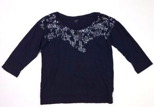 Ann taylor loft 3/4 sleeve sequined neckline top tee navy blue size small s