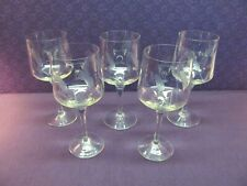 5 TOSCANY HAND BLOWN ETCHED WHEAT CRYSTAL PORT WINE / WATER GOBLETS ROMANIA