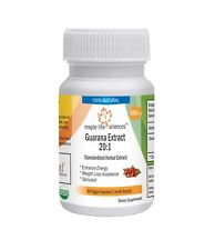 Guarana 20:1 Extract Capsules Stimulant Energy Booster Weigh loss assistance