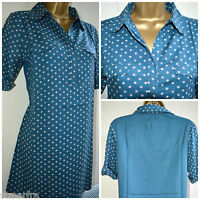NEW WHITE STUFF TUNIC TOP BLOUSE SHIRT TOP TEAL BLUE POLKA SQUARE SPRING 8 - 18