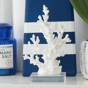 Amalfi White Resin Faux Coral Table Decorator Hamptons Coastal Home Beach Decor