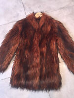 MISS SELFRIDGE SIZE 4-6 SHAGGY FAUX FUR COPPER BROWN WOMENS JACKET LADIES COAT