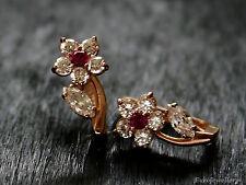 585 Russian Rose Gold 14K Hoop Huggies Earrings Gift Boxed