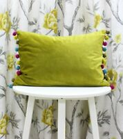 Pom Pom Velvet Fiesta Boudoir Filled Cushion by Paoletti 35cm x 50cm