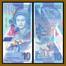 East Caribbean 10 Dollars, 2019 P-New Queen Elizabeth II Polymer Unc