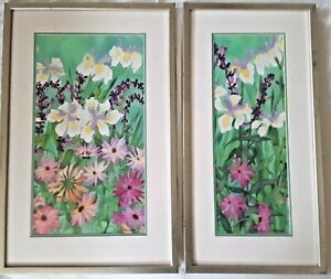 """ERIN WILLIAMS, Pair (2)  Floral Watercolors, Complimentary, 30"""" Tall"""