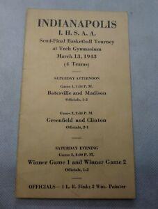 Vintage 1943 Madison Indiana High School Basketball Program State Semi-Finals