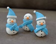 6 X Edible Christmas Themed Snowman Fondant Toppers /Decorations