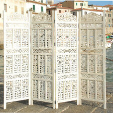 PARAVENT 4 PANEL INDIAN HAND CARVED WOODEN SCREEN ROOM DIVIDER FREE P & P K W