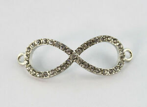 10PCS Clear Pave Rhinestone Infinity Link Pendants #22879