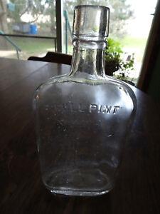 VINTAGE CLEAR GLASS FLASK BOTTLE
