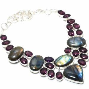 "Labradorite, Amethyst Ethnic Handmade 925 Sterling Silver Jewelry Necklace 18"""