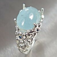 7.7ct Natural blue Aquamarine cats eye 925 silver 9ct 14k 18k Gold Platinum ring