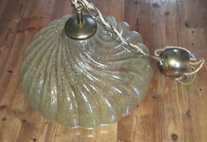 Doria Hollywood Regency Glas Hängelampe Deckenlampe bubbles Goldflitter Ende `60