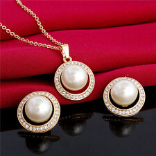 Akoya Cultured Pearl Crystal Earrings+Necklace Jewelry Set For Weddings Bridal