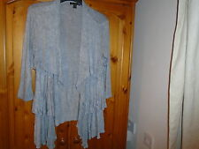 Grey waterfall layer front cardigan, ¾ length sleeves, TWENTY ONE, size Small