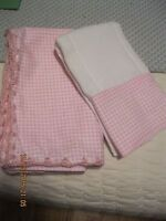 HANDMADE Baby Blankets and Burp Cloths -- Pink Gingham trimmed in pink